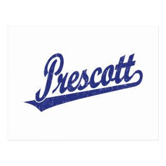 Prescott script logo in blue distressed postcard