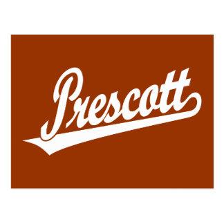 Prescott script logo in white postcard