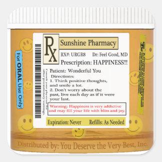 Prescripción divertida de la felicidad de RX Calcomania Cuadradas Personalizada