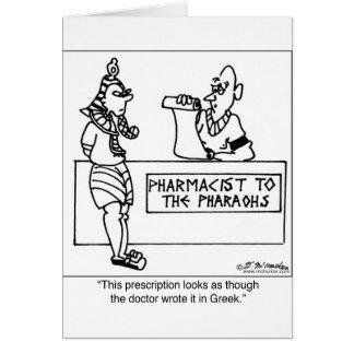Prescripción egipcia escrita adentro tarjeta de felicitación