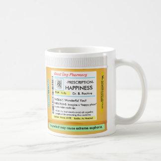 Prescripción feliz de RX CustomizeABLEs Taza Básica Blanca