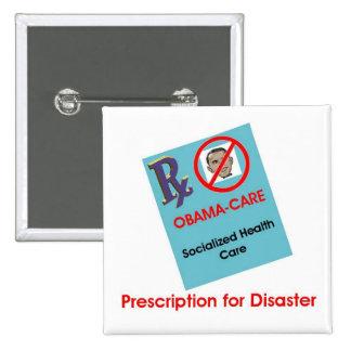 Prescripción para el botón del desastre pin