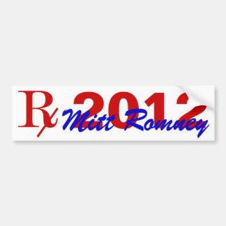 Prescription 2012 Candidate Romney Bumper Stick Bumper Sticker