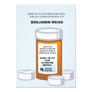 Prescription Bottle Pharmacist Graduation Invitati Card