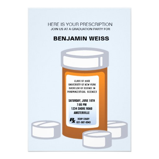 Prescription Bottle Pharmacist Graduation Invitati Custom Announcement
