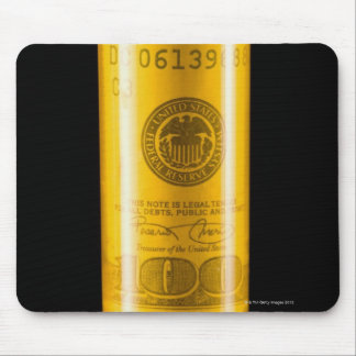 Prescription bottle with one hundred dollar bill mouse pad