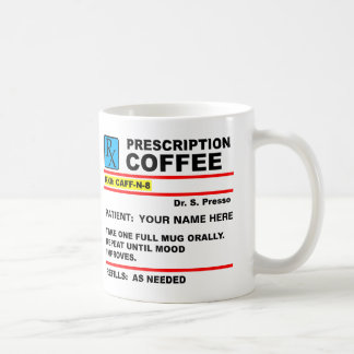 Prescription Coffee Caffeine Rx Funny Mug