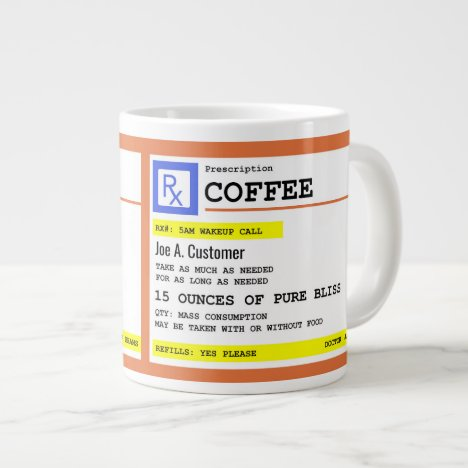 Prescription Coffee Jumbo Mug with Custom Name