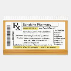 Prescription For Coffee Rectangular Sticker at Zazzle