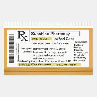 Prescription for Coffee Rectangular Sticker