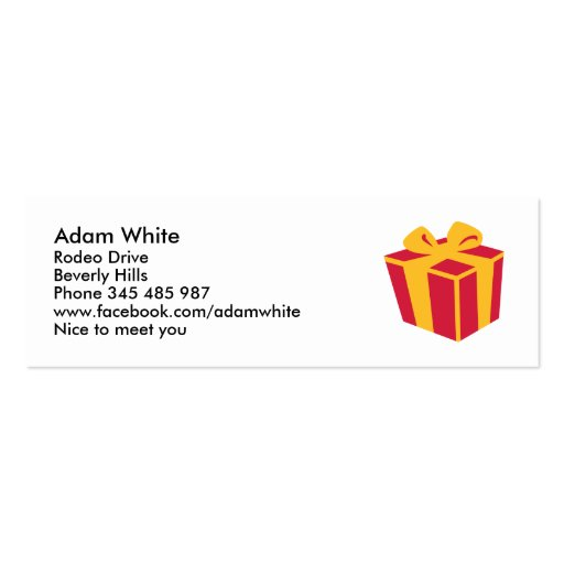 Present gift box business card templates