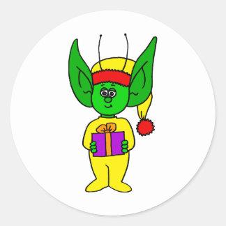 Present holding Bedbug Alien Round Sticker