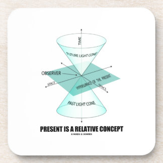 Present Is A Relative Concept (Light Cone Physics) Beverage Coaster