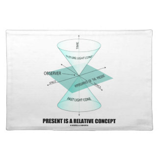 Present Is A Relative Concept (Light Cone Physics) Cloth Place Mat