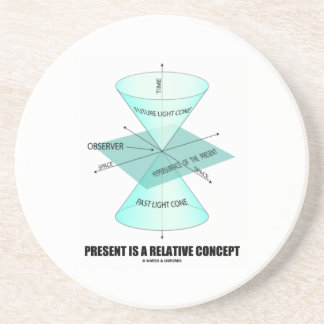 Present Is A Relative Concept (Light Cone Physics) Sandstone Coaster