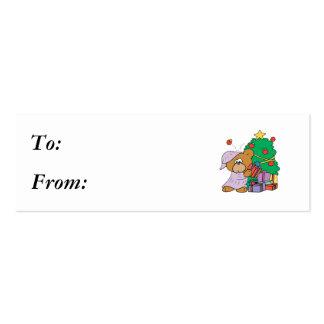 Present Peeking Christmas Bear Business Cards