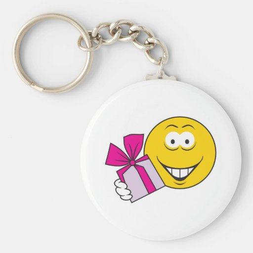 Present Smiley Face Keychains