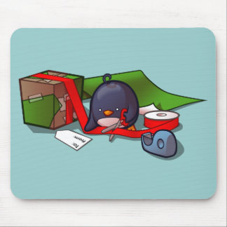 Present-Wrapping Penguin Mousepad