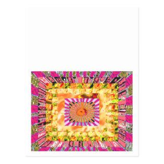 Presentación artística de la sol y del collage de postal