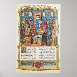 Presentación de las memorias a Louis XI Póster