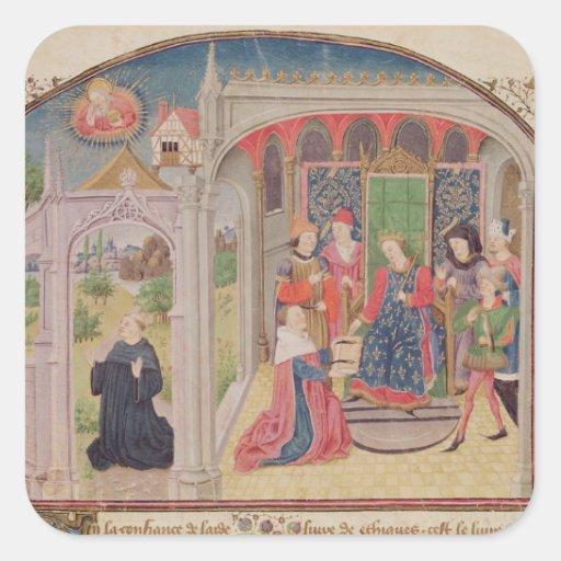 Presentación de los éticas al rey pegatina cuadrada