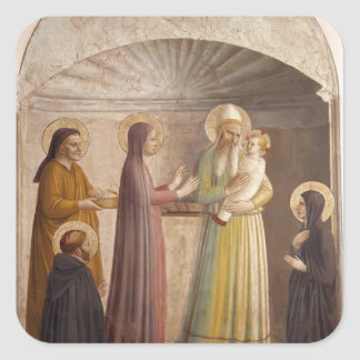 Presentación del Fra Angelico- de Jesús en el temp Pegatinas Cuadradas Personalizadas