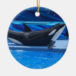 Presentación del ornamento de la orca adorno navideño redondo de cerámica