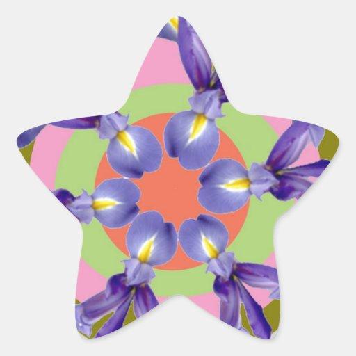 Presentación SANTA de la flor del IRIS holandés de Pegatina En Forma De Estrella