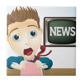 Presentador chocado de las noticias de la TV Teja