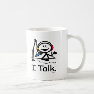 Presentador de un programa de entrevistas taza de café
