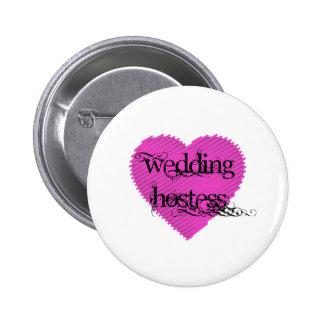 Presentadora del boda pin redondo de 2 pulgadas