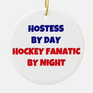 Presentadora del fanático del hockey del día por adorno redondo de cerámica