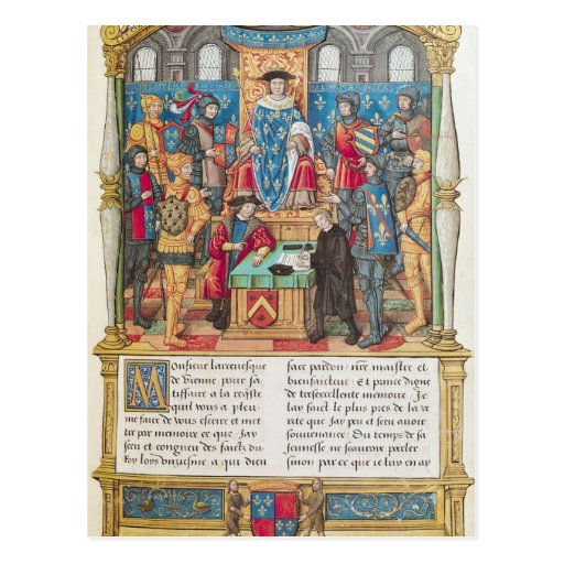Presentation of the Memoirs to Louis XI Postcard