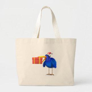 presente azul de Santa del pájaro 3d Bolsas
