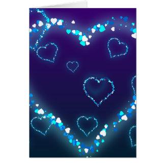 Presente azul del amor del corazón de Bling del re Tarjeta De Felicitación