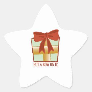 Presente con el arco colcomanias forma de estrella personalizadas