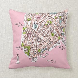 Presente de la almohada del mapa del viaje de New