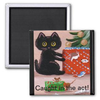 Presente divertido Creationarts del ratón del gato Imán Cuadrado