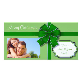 Presente envuelto verde tarjetas fotograficas personalizadas