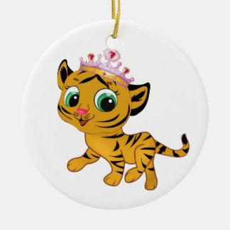 Presente lindo de princesa Tiger Tigress Tiara Adorno Navideño Redondo De Cerámica