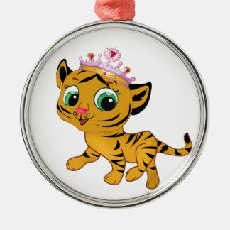Presente lindo de princesa Tiger Tigress Tiara Adorno Navideño Redondo De Metal