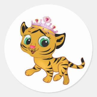 Presente lindo de princesa Tiger Tigress Tiara Pegatina Redonda