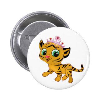 Presente lindo de princesa Tiger Tigress Tiara Pin Redondo De 2 Pulgadas