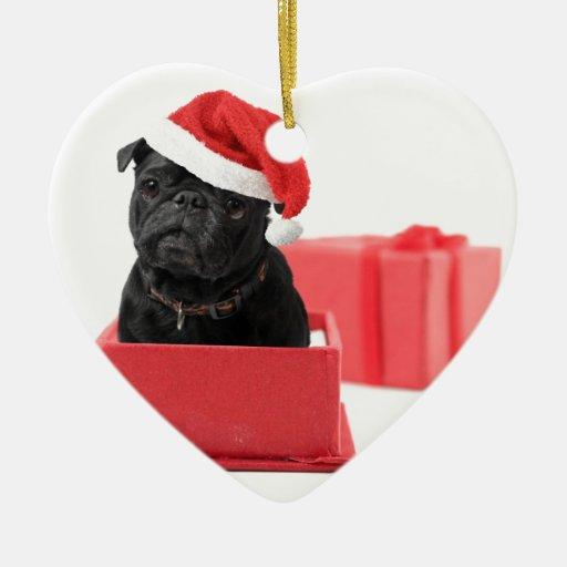 Presente o regalo negro del perro del barro adorno navideño de cerámica en forma de corazón