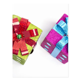 presentes coloridos brillantes tarjeta postal