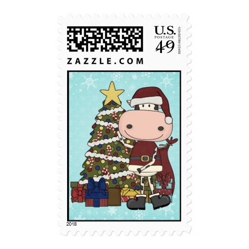 Presentes debajo del árbol de navidad - vaca estampilla