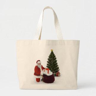 Presentes del ajuste de Santa por el árbol Bolsas De Mano