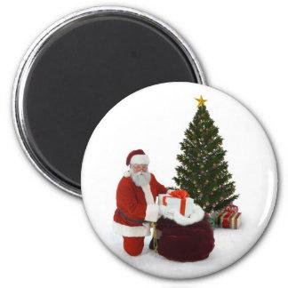 Presentes del ajuste de Santa por el árbol Imán Redondo 5 Cm