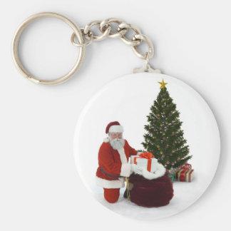 Presentes del ajuste de Santa por el árbol Llavero Redondo Tipo Pin