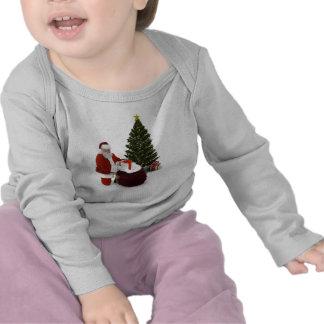 Presentes del ajuste de Santa por el árbol Camiseta